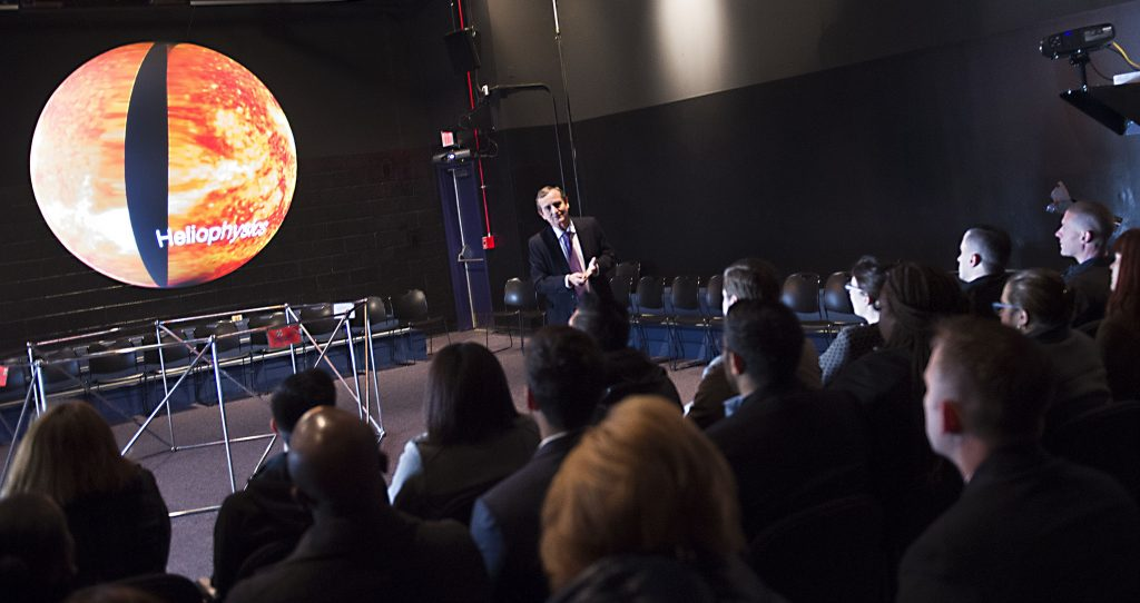 CXO Fellows from around the Federal Government visited Goddard on April 5, 2016. They were briefed on Science on a Sphere at VC, Testing & Integration Facility B7, James Webb Space Telescope by Dr. Mather, Heliophysics at Hyperwall B28, and LRO/GPM Control Center in B32.