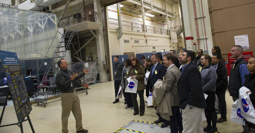Fellows were introduced close-up to the environmental testing unit developed by NASA to test missions bound for space, led by Ed Packard, Associate Head, Environmental Test Engineering & Integration Branch.